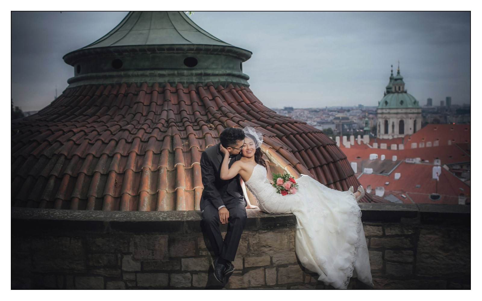 Jen + Dennis traveled over from New York City for their stylish Prague pre wedding shoot
