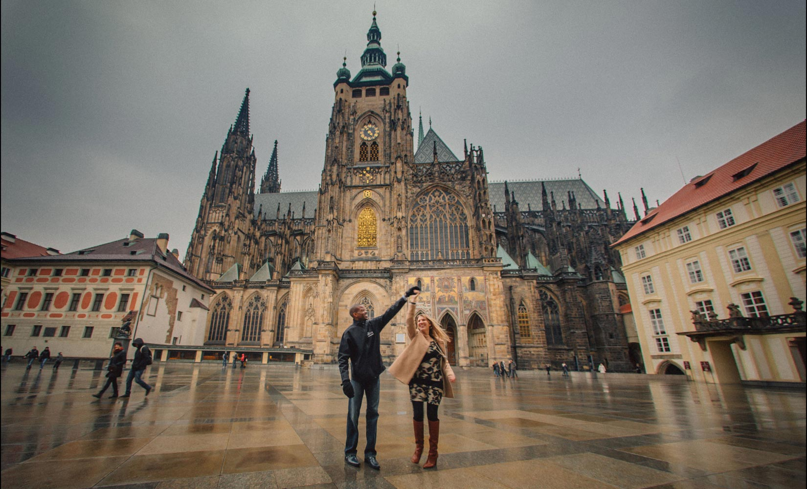 Prague marriage proposal: Jennifer & Frank / St. Vitus belltower portraits