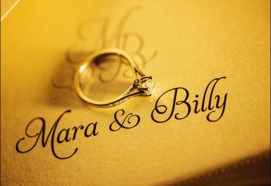 Irish wedding engagement ring detail embossed names