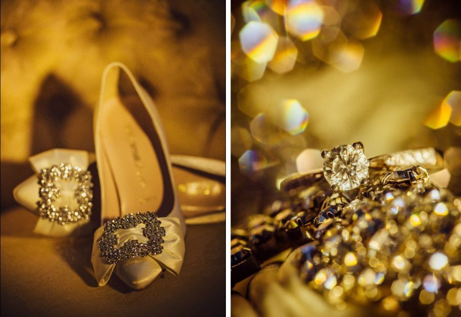 Irish weddings, details of rings and brides shoes photo