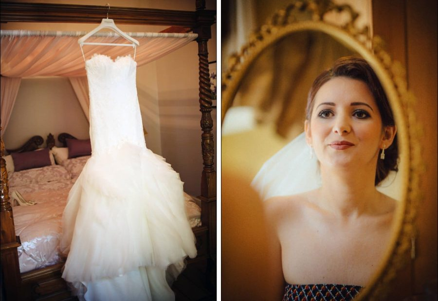 Irish weddings, bridal prep photo, wedding dress hanging above bed