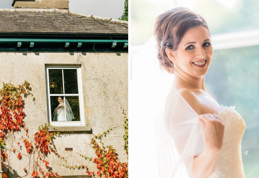 Irish weddings, color portrait of beautiful bride inside house