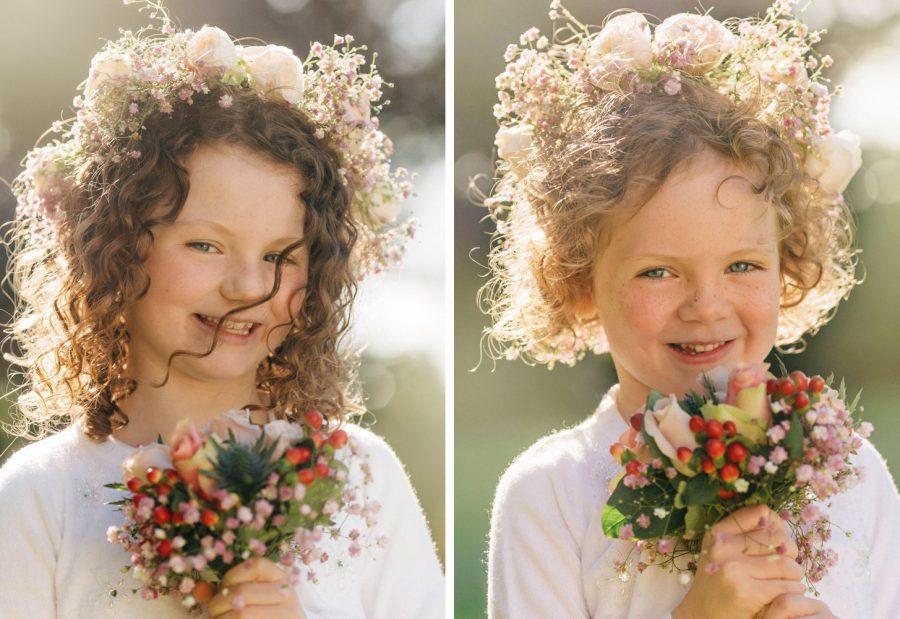 Irish weddings, color portrait, golden light, young flower girls holding flowers
