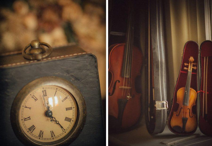 Irish weddings, antique clock, violin detail photos