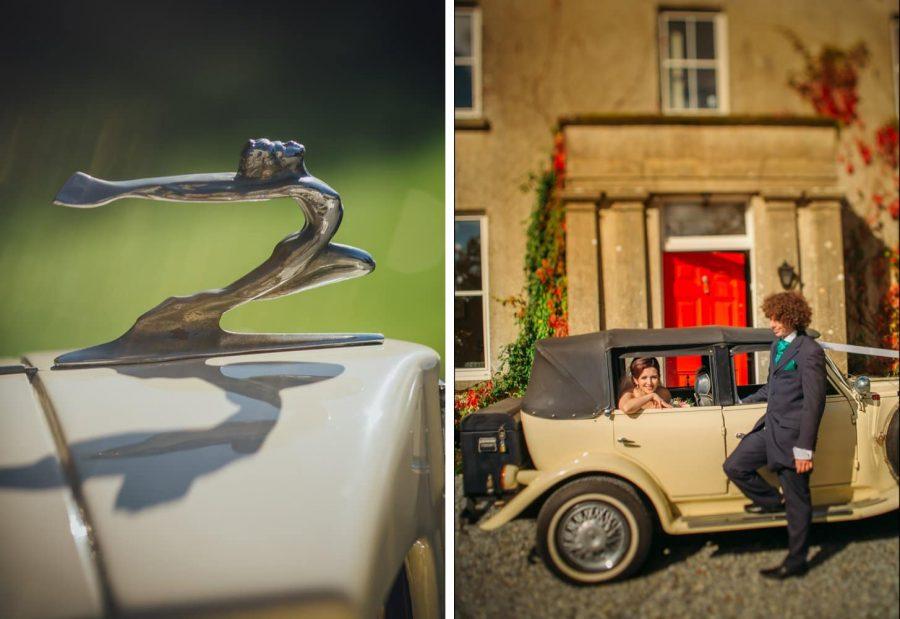Irish weddings, bride & single groomsmen, antique car, red door, old house