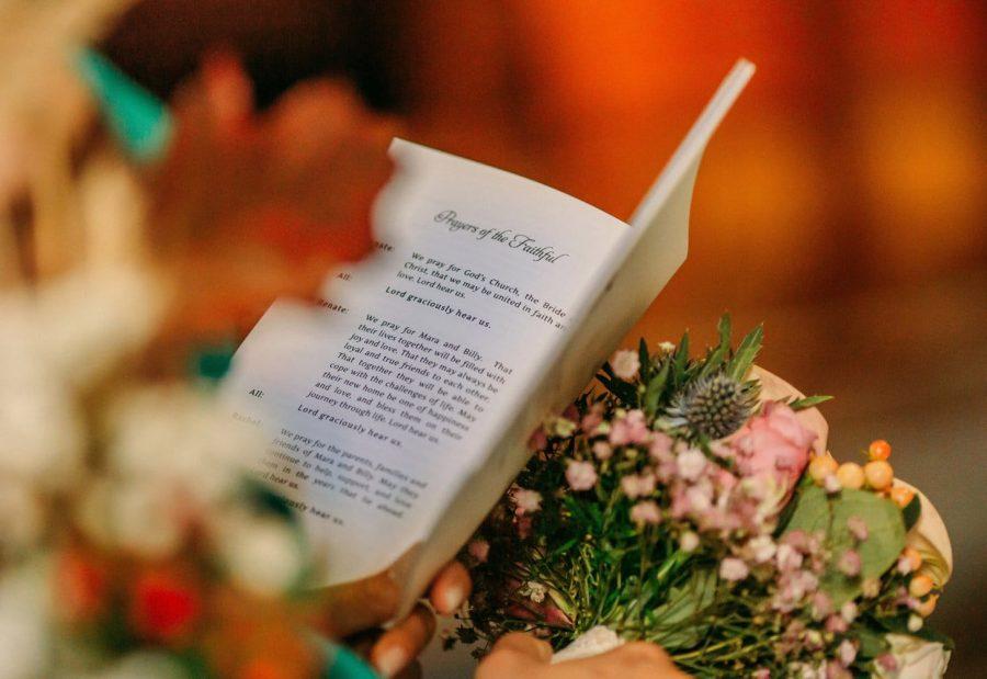 Franciscan Abbey Multyfarnham, wedding card, prayer, flowers