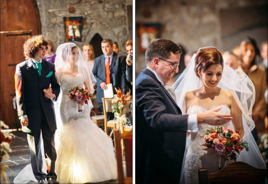 Franciscan Abbey Multyfarnham, wedding, natural light, bride arrives, happy groom