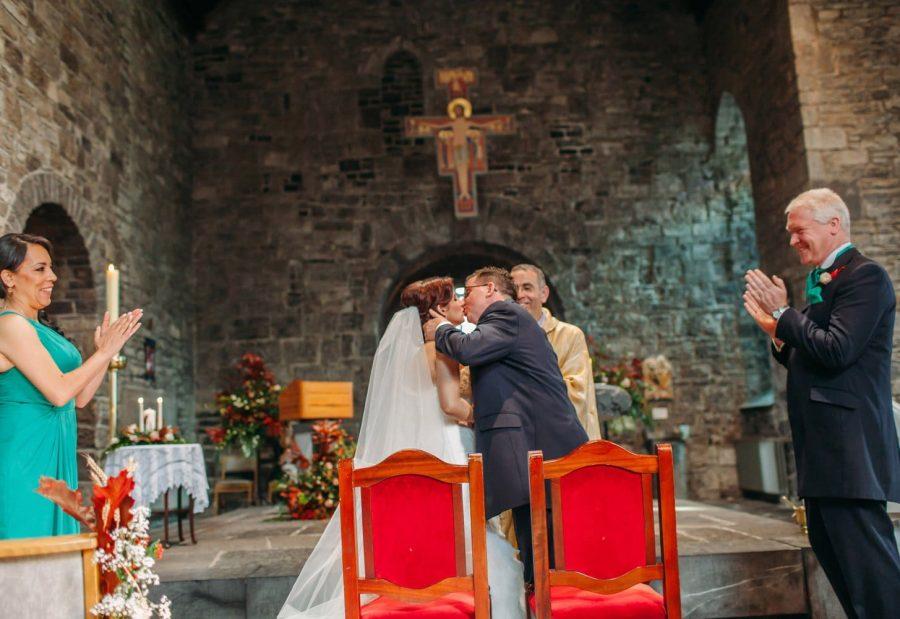 Franciscan Abbey Multyfarnham, wedding, natural light, the holy kiss