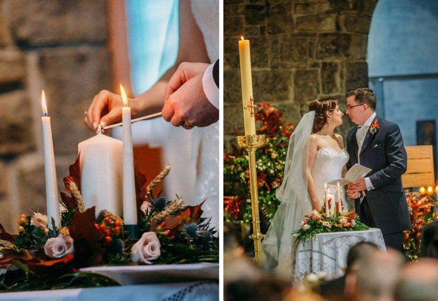 Franciscan Abbey Multyfarnham, wedding, natural light, lighting candle details
