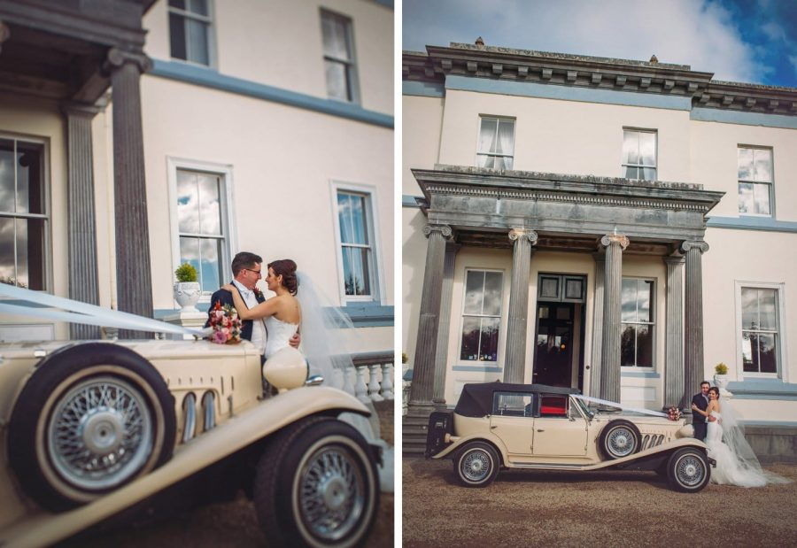 Middleton Park House Hotel, vintage car, wedding couple embracing, natural images