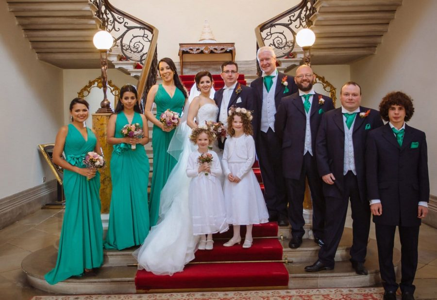 Middleton Park House Hotel, wedding party portrait, grand stair case