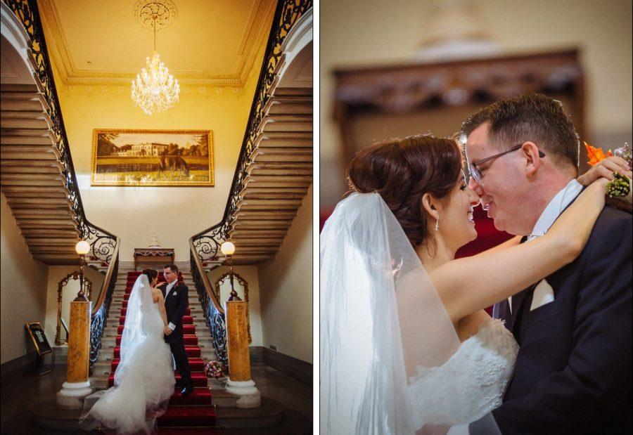Middleton Park House Hotel, back lighting of couple embracing, grand stair case, lighting