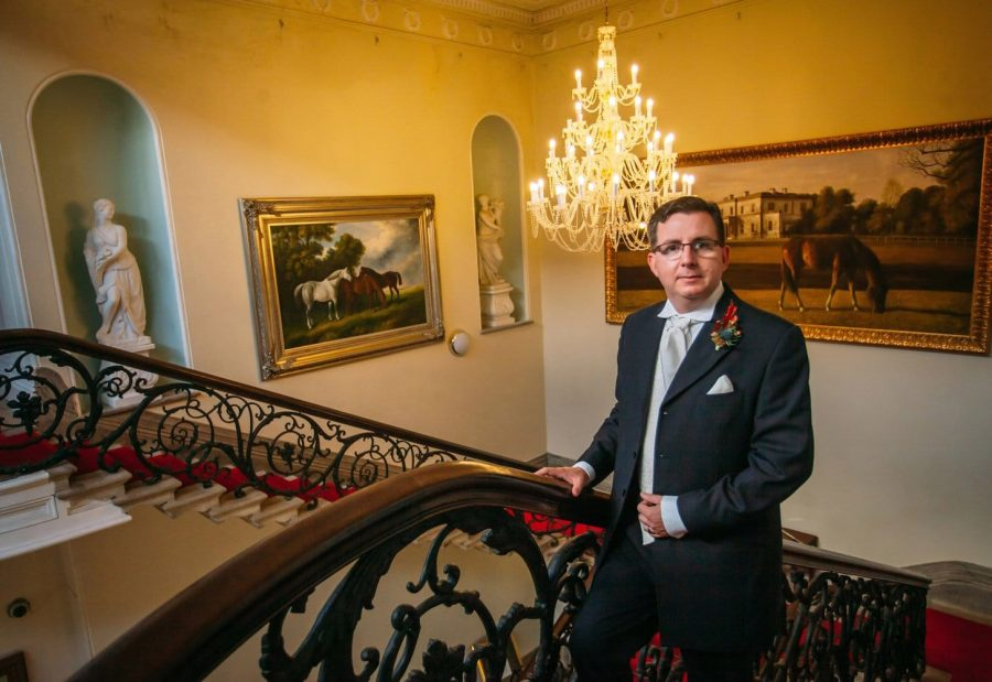Middleton Park House Hotel, groom portrait, staircase