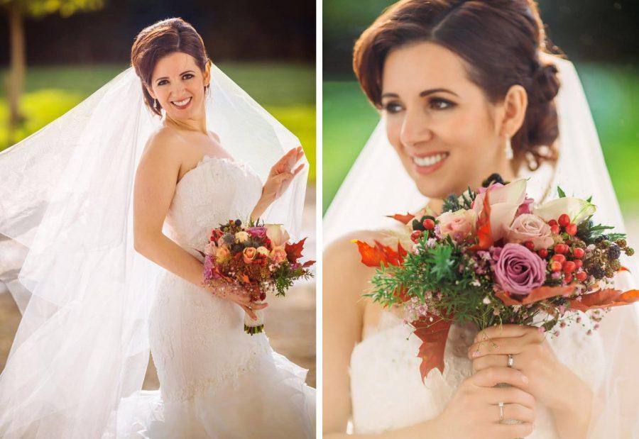 Middleton Park House Hotel, golden light portrait, beautiful bride, bouquet, veil, sunshine