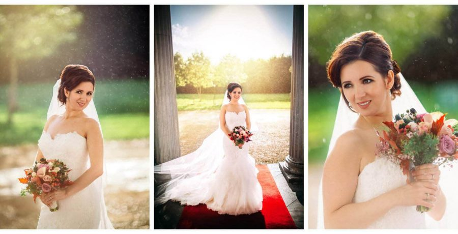 Middleton Park House Hotel, golden light portrait, beautiful bride, bouquet, veil, sunshine & rain