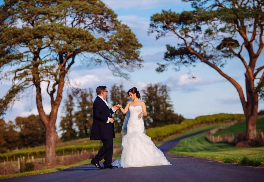 Middleton Park House Hotel, evening light, couple dancing hand in hand under large trees