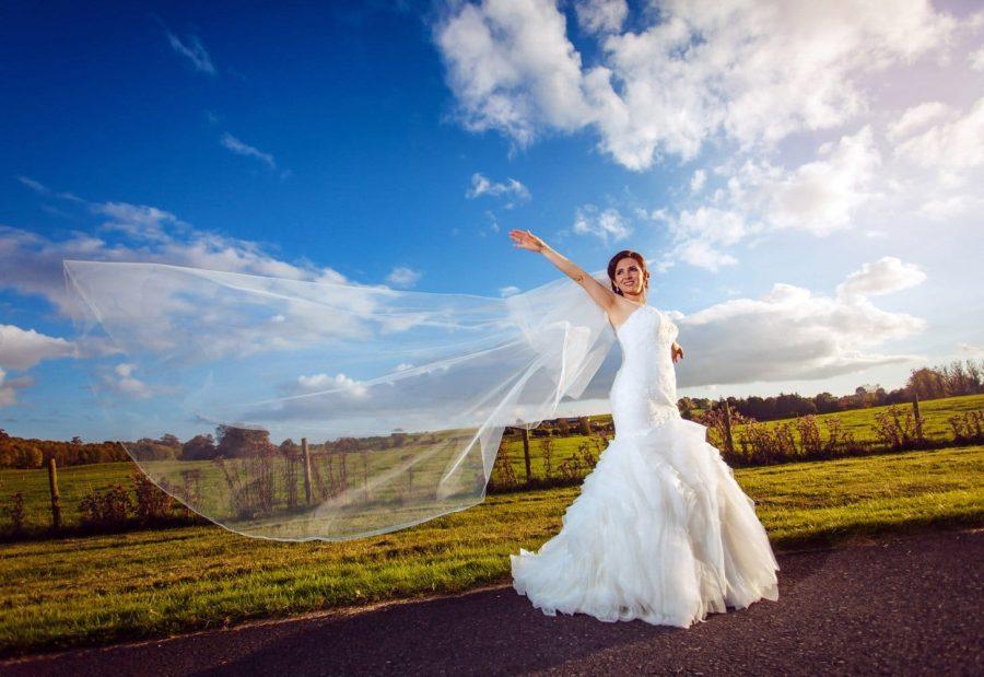 Middleton Park House Hotel, evening light, bridal portrait, veil, blue sky