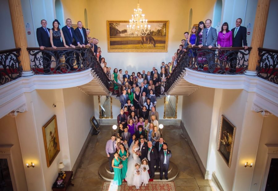 Middleton Park House Hotel, grand staircase, group photo, 200+ people, bridal party