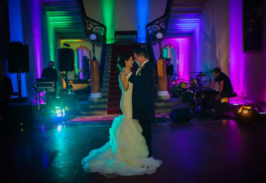Middleton Park House Hotel, wedding couple, first dance, moody dark colors, stair case