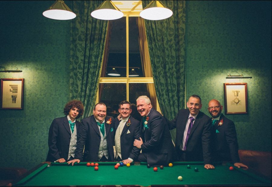 Middleton Park House Hotel, groom and groomsmen, billiard table, laughing, smiling, green room