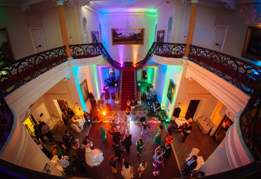 Middleton Park House Hotel, above view overlooking dancing, colorful lighting, couples dancing