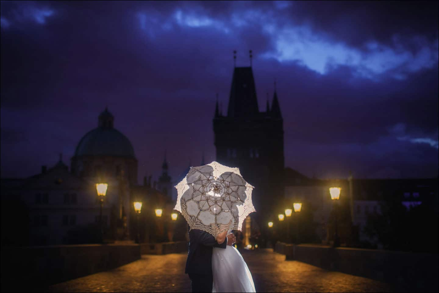 A sunrise pre wedding portrait session in Prague with S+P