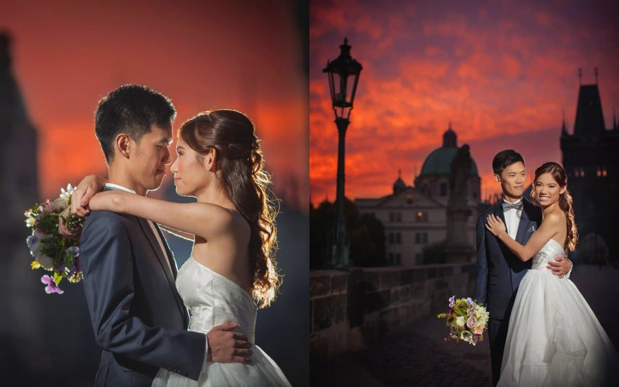image of bride & groom, Charles Bridge, sunrise, red & orange sky, Prague, veil, couple portrait