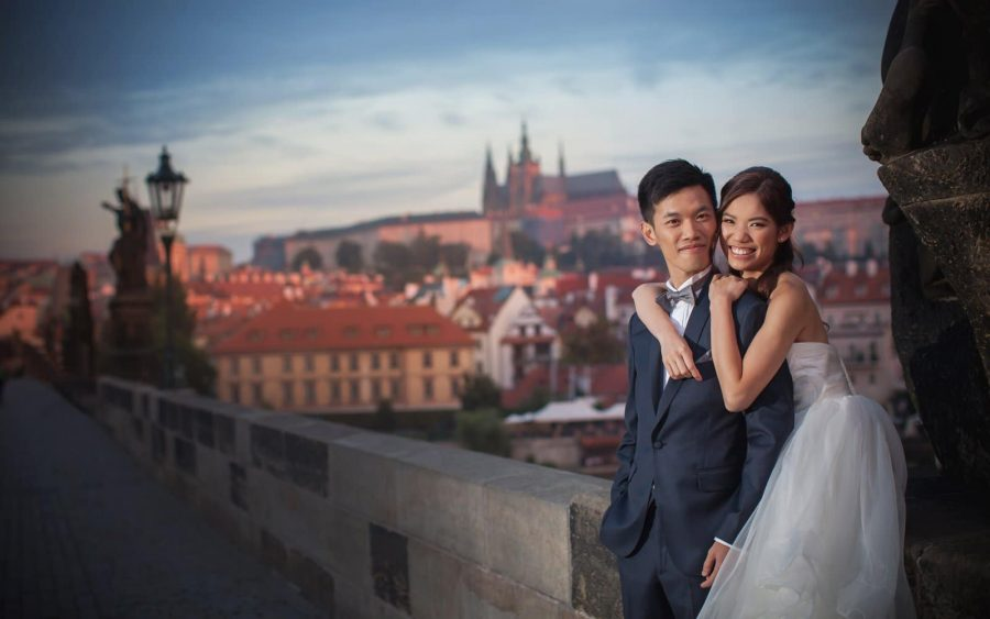 image of bride & groom, Charles Bridge, Prague, veil, couple portrait