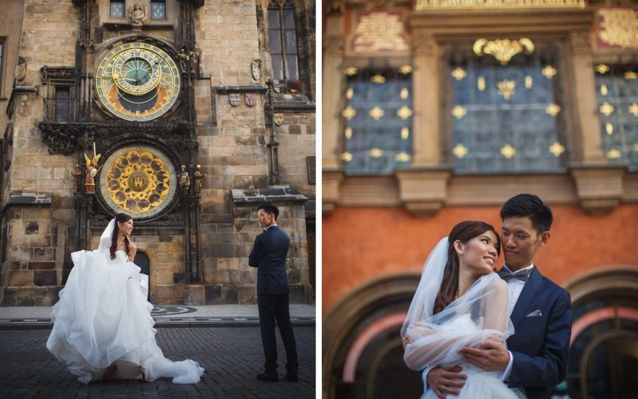 image of bride astronomical clock, Prague, veil, couple portrait