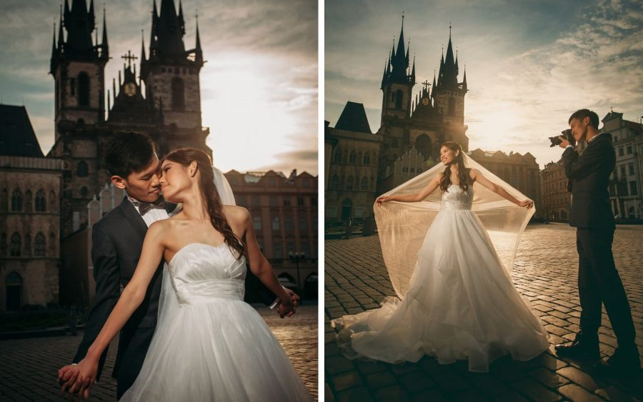 image of bride & groom, Old Town Square, Prague, Tyn Church, sunrise