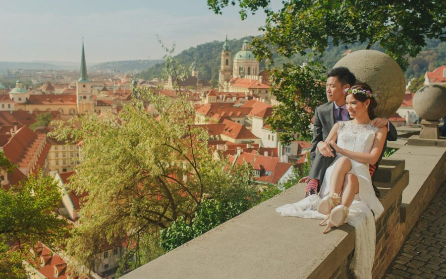 image of bride & groom, Prague Castle, city views, garden, Prague