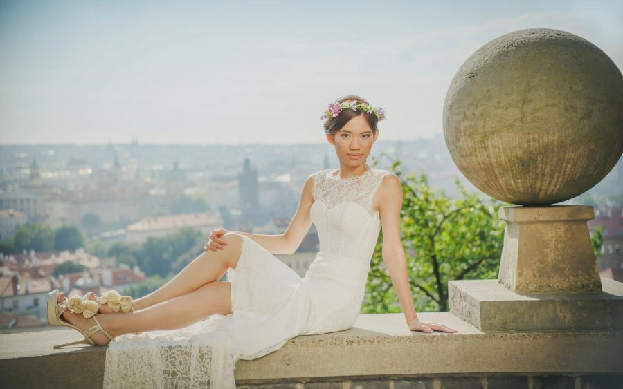 image of bride, Prague Castle, city views, garden, Prague