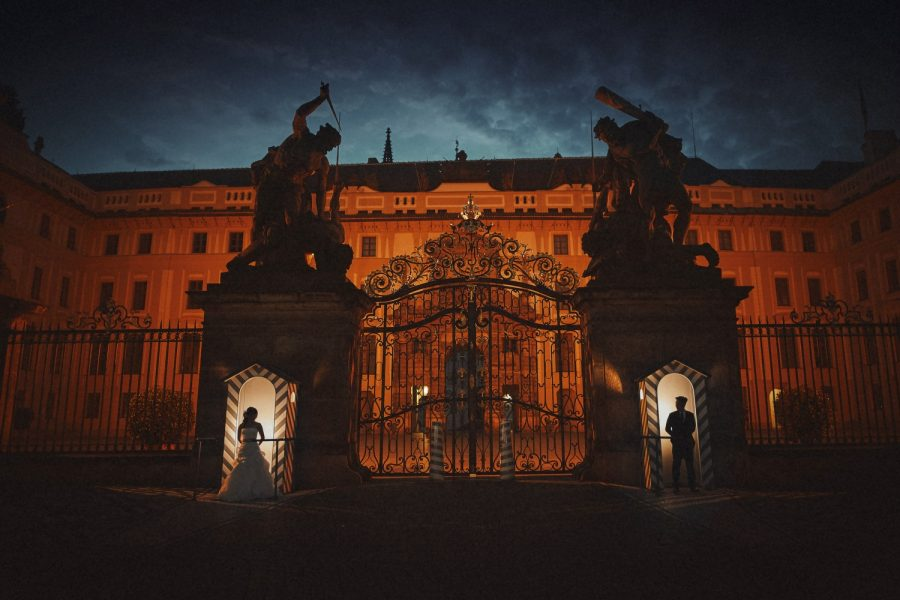 Prague Castle at night, wedding couple, guard shack, dramatic, artistic & creative portrait