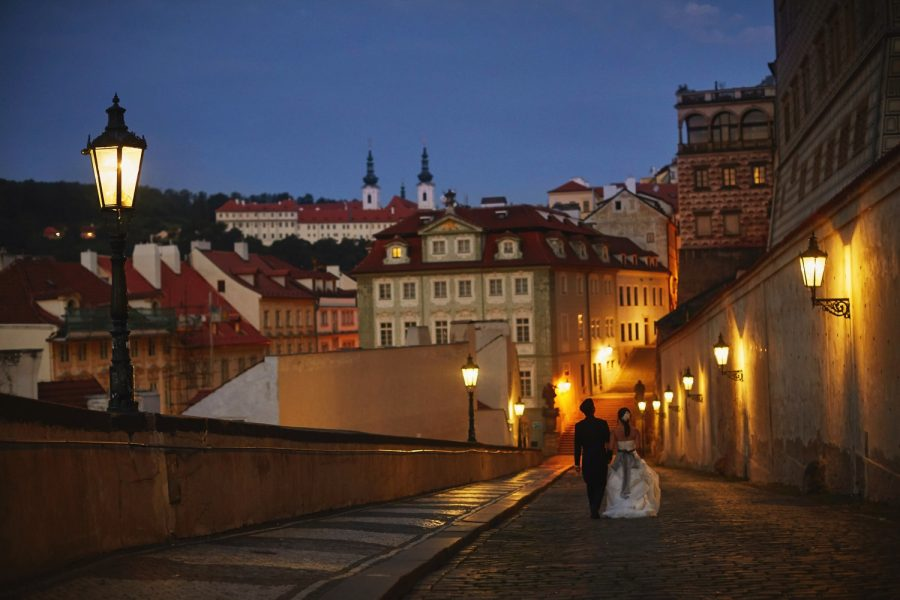 Prague Castle at night, wedding couple, walking, gas lamps, blue sky, romantic photo