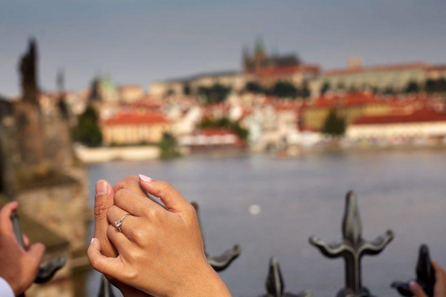 Prague, Charles Bridge, wedding couple, detail of holding hands, Prague Castle