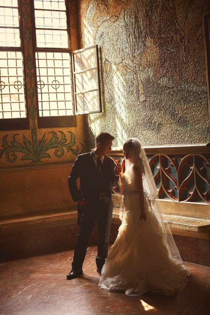Prague, Old Town Hall, wedding couple, silhouette, painted interior, moody portrait