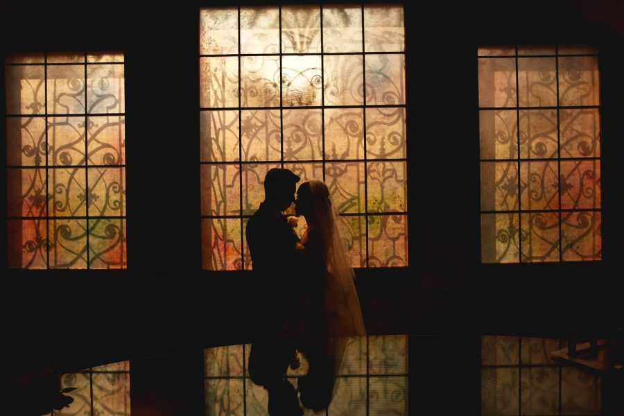 Prague, Old Town Hall, wedding couple, silhouette, couple embracing, wedding