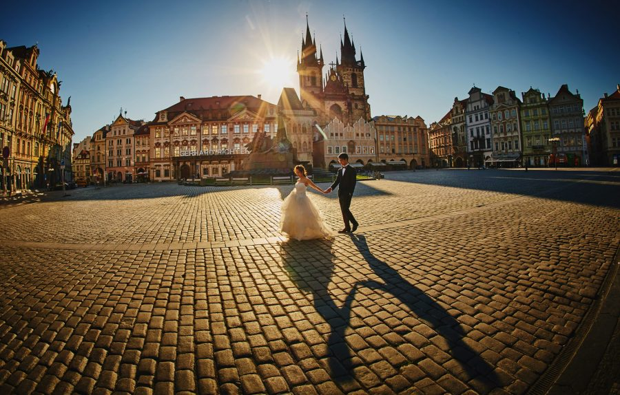 Golden Hour pre-wedding photography portraits in Prague