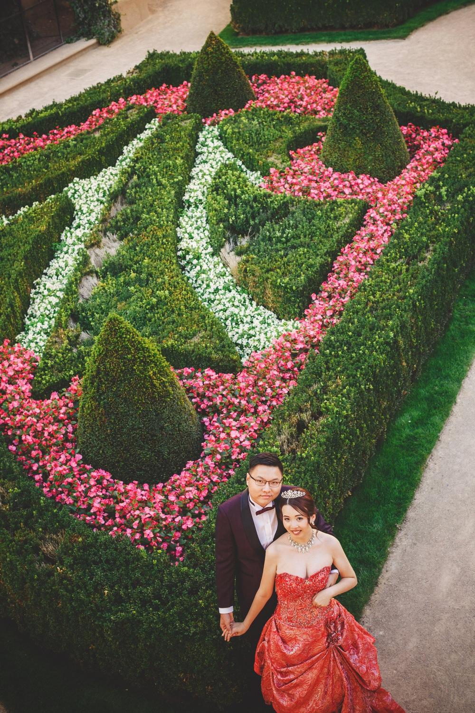 Prague Vrtba Garden, red dress, young couple embracing, holding hands