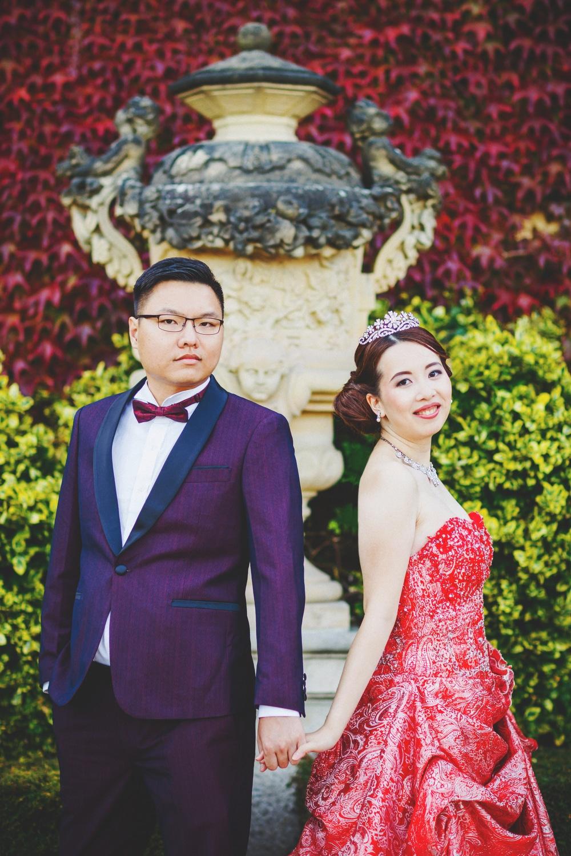 Prague Vrtba Garden, red foliage, red dress, happy young couple, tiara