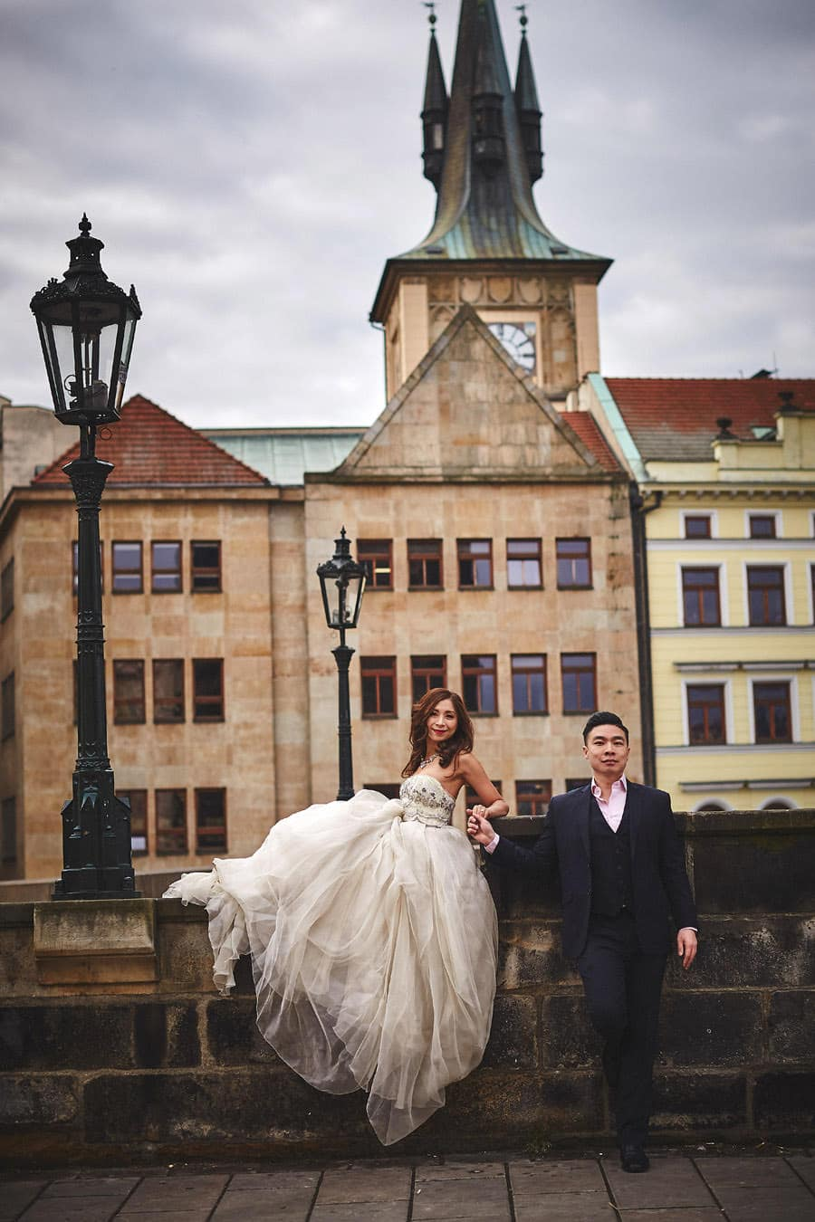 Our very cool and collected couple at the Charles Bridge in Prague - a Love Story Engagement photo shoot with Tina & Mike