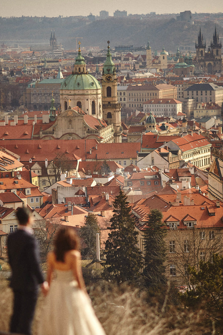 The beautiful city of Prague down below - from a Love Story Engagement photo shoot with Tina & Mike