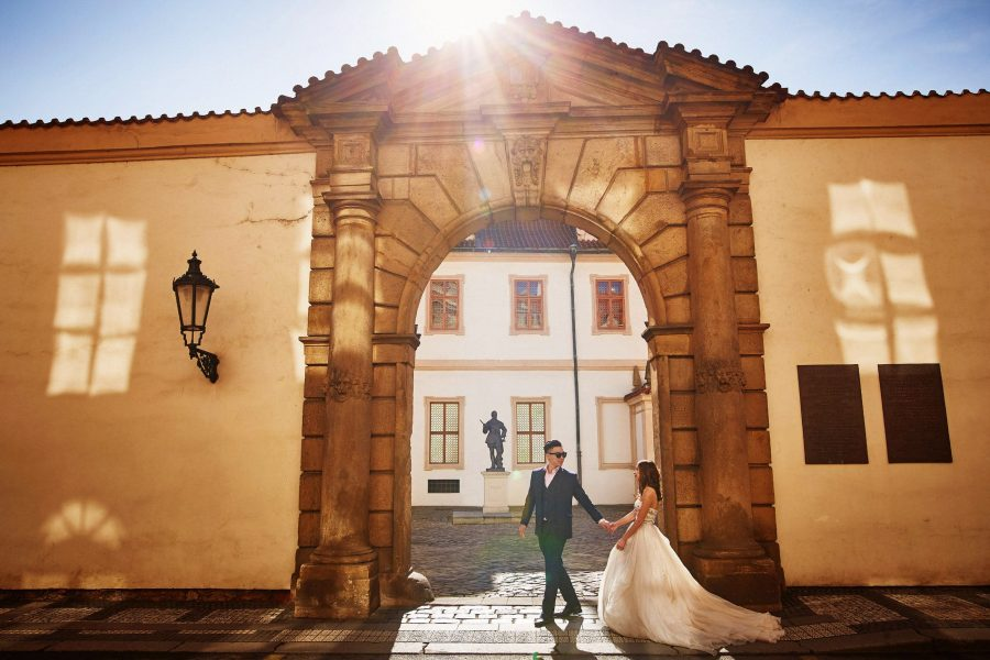 The Golden sunlight leading the way - from a Love Story Engagement photo shoot with Tina & Mike in Prague