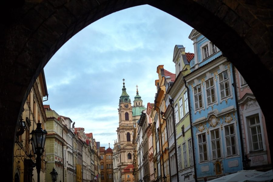 A view of Mala Strana looking towards St. Nicholas Church in Prague