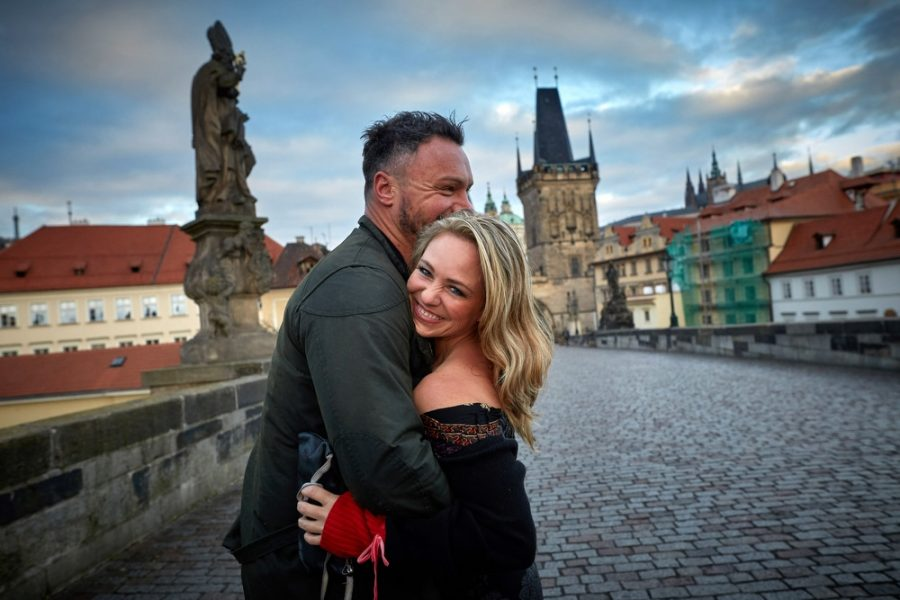 our very happy couple during their very early am lifestyle photo session on the Charles Bridge