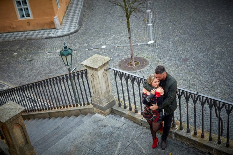 Our latest lovers during their Prague lifestyle session photographed on the Kampa Steps