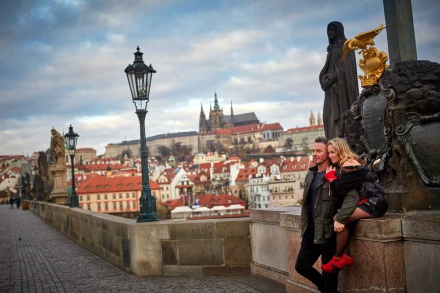 Taking in one of the most beautiful views in Prague on the Charles Bridge