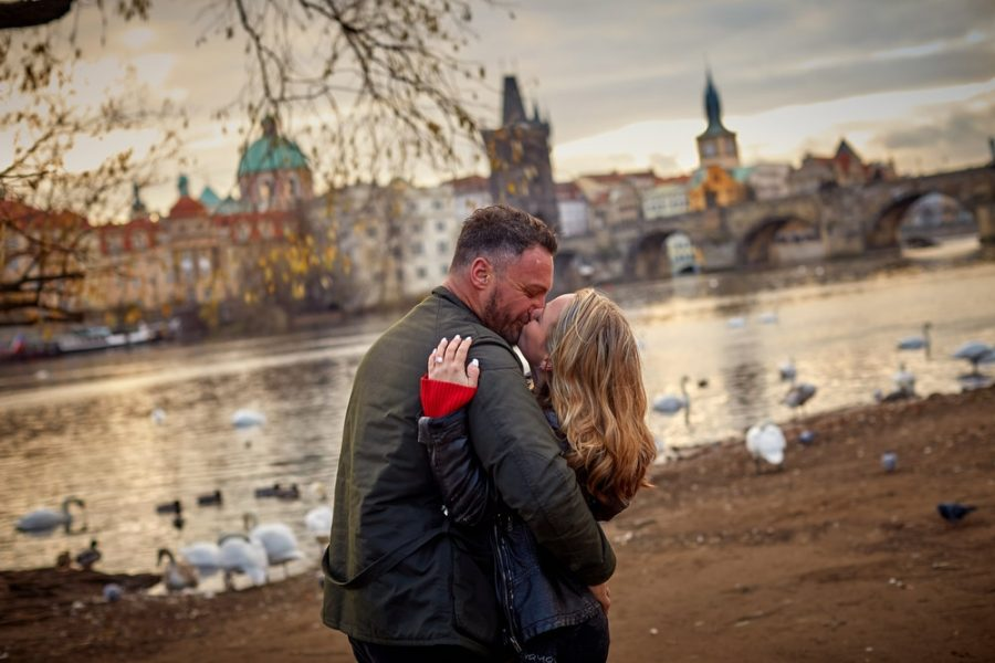 She said yes, and they sealed it with a kiss. Prague lifestyle session becomes a surprise marriage proposal