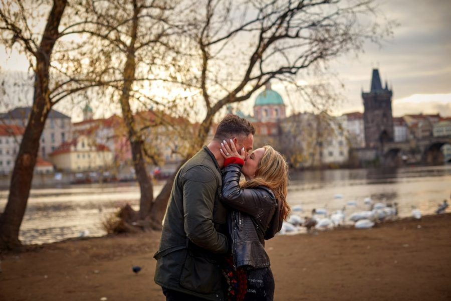 Another kiss for the newly engaged during their surprise Prague marriage proposal