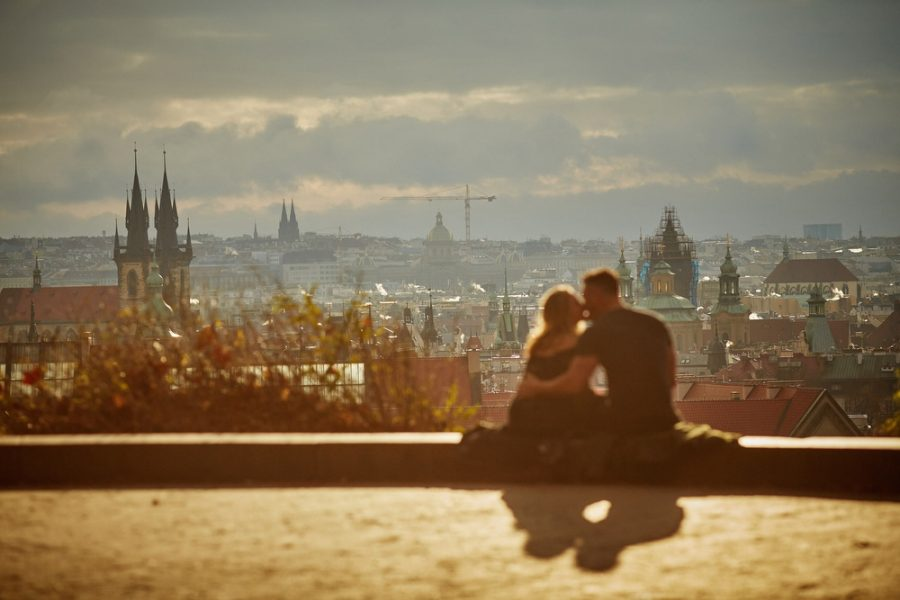 One of Prague's most amazing views and they had it all to themselves on that very special morning where she said, Yes!